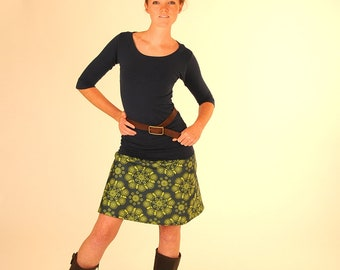 Women's Aline Skirt  - Short Skirt - Green Mandala Print  - Organic Cotton Clothing - Eco Friendly