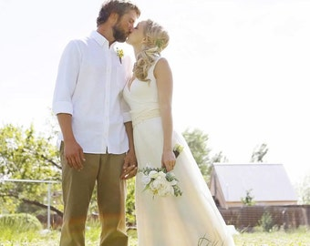 Organic Wedding Dress - Full Length -  Eco Friendly Wedding - Creme - Natural