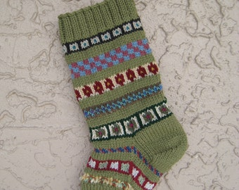 Hand knit Christmas stocking in medium olive green with FREE U.S. SHIPPING
