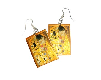 Klimt's The Kiss Earrings for art lovers - paper and gold polymer clay
