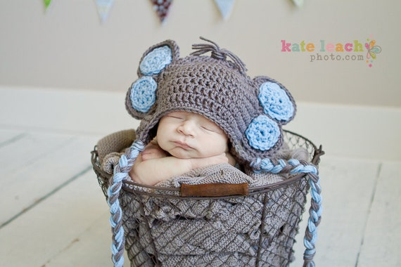 Little Mr Elephant Beanie in Gray and Baby Blue Available in Newborn to 5 Years Size- MADE TO ORDER