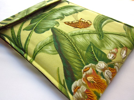 iPad case - hand embroidered iPad 2, 3 cover - gadget tablet case - lush chartreuse green garden with butterfly - quilt lined slim design