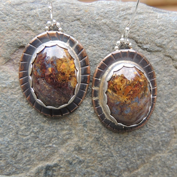 RESERVED for Lorraine - Tempest Stone Earrings, Rustic Handmade Mixed Metal Earrings, Glittering Pietersite Earrings, Large Oval Bi-Metal