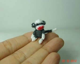 1 inch miniature sock monkey - Tiny amigurumi crochet animal