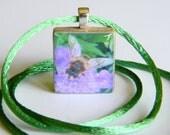 Honey Bee on Purple Pincushion Pendant - Scrabble Game Tile Letter T - Original Nature Photograph