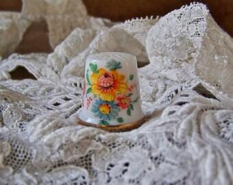 Vintage Thimble Italy Orange Flower Thimble Arabic Symbols Thimble Collector Vintage Sewing Room 1980s