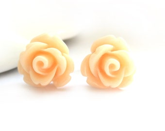 SALE - Apricot Rose Stud Earrings