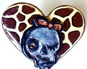 Big Halloween Ring Adjustable Giraffe Heart and Skull Jewelry Emo Fashion Ring