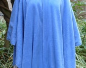 Fleece Poncho/ Cape - Hooded, Reversible  - Winter Scenes with Horses / Dresden Blue