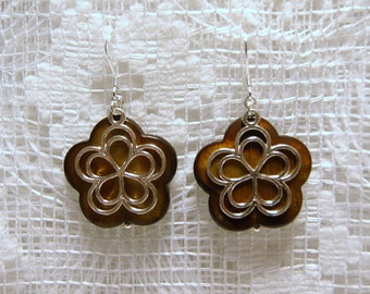 "Brown Mother of Pearl Shell and Sterling Silver Flower Dangle Earrings--""Transitioning to Fall"""