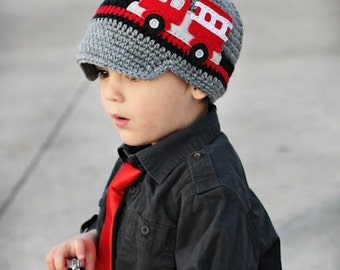 Fire Truck Visor Hat - Black, Grey and Red Felt Applique Crochet Hat