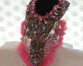 Statement pink Choker, Grand Bib Necklace, Couture Accessory, Dramatic Neck Piece, Fushia Dream bib Necklace.