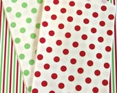 20 Red, White, and Green Christmas Holiday Polka Dot Middy Bitty Bags (Treat Bags, Favor Bags, Gift Wrap, Envelopes) - 5 x 7.5 inches