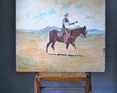 RESERVED Vintage Cowboy Oil Painting:  Southwest Realist Landscape 1960s