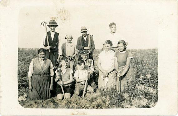 "Vintage Photo Postcard ""Farm Family"", Photography, Paper Ephemera, Snapshot, Old Photo, Collectibles - FL009"