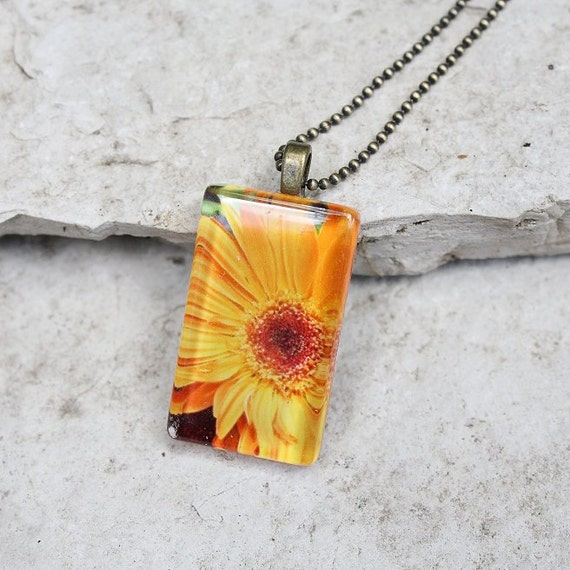 CLEARANCE~Glass Photo Pendant Necklace Yellow Gerbera Daisy Flower, Jewelry, Buy One Get One Free