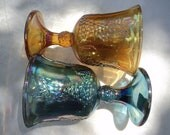2 SETS of glaSS carnival goblets 1 blue irridescent or 1 gold