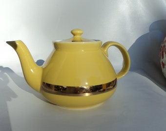 yellow and gold band hall teapot
