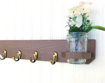 Shabby Chic-French Country-Distressed-Primitive Wooden Wall Hanger-Antique Brass hooks-Mason Jar-Nutmeg