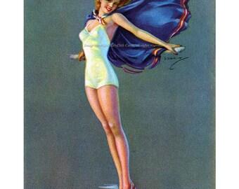 Pinup Girl Card - Girl w Cape over Bathing Suit - Erbit Vintage Image