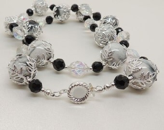 Crystal and Porcelain Beaded Necklace