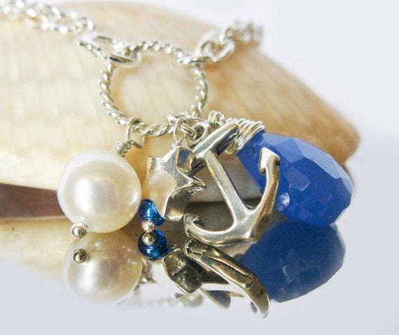 Sterling Silver Anchor Bracelet, Sterling Silver Star, Freshwater Pearl, Royal Blue Chalcedony Gemstone.