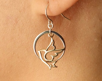 4th of July Gift Of Peace Dove Earrings, Silver Dove Bird Earrings, Circle Earrings, Birthday Gift of Peace Day of Peace Gift