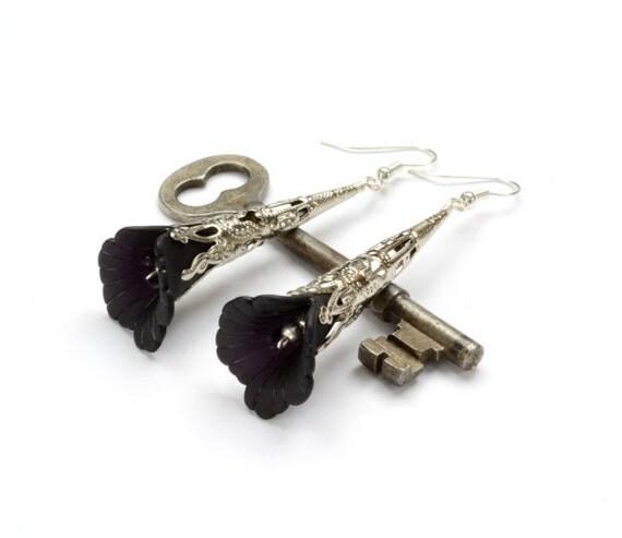 Black Earrings, Black Jewelry, Victorian Silver Filigree, Black Flower, Dangle Earrings, Steampunk Jewelry By Victorian Curiosities
