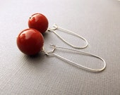 Red Drop Earrings, Red Dangle Earrings, Bridesmaid Jewelry, Red Jewelry, Autumn Wedding