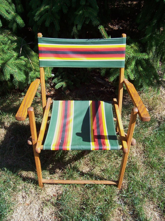 Vintage Oak Wood Folding Chair with Duck Cloth
