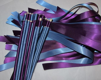 Enchanted Wedding Ribbon Wands 50 Pack IN YOUR COLORS (shown in smoke blue and plum purple)