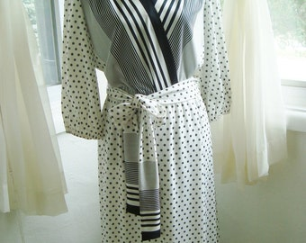 Secretary Day Dress in Eye-Catching Black and White Stripes and Dots, Size 12