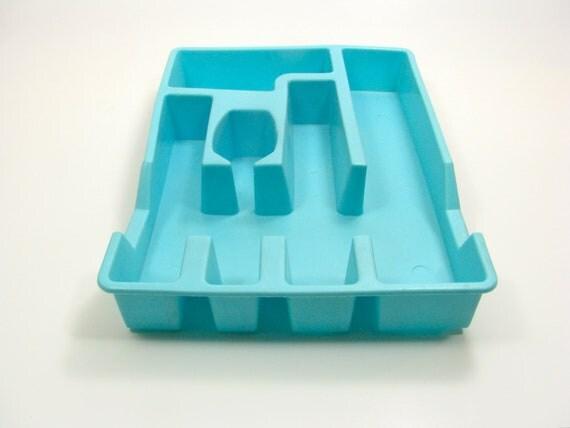 Mid Century Aqua Silverware Tray