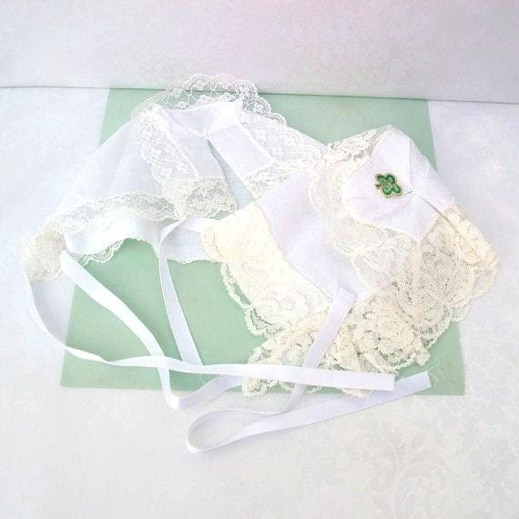 White Baby Bonnets, Christening Hat, Lace Cap, Baby Accessories
