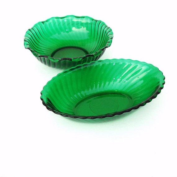 Green Glass Bowls,  Vintage Glass Bowls, Emerald Green, Retro Kitchenware