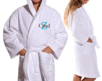 Personalized Kid's Terry Hooded Bathrobe White Pink or Blue Name included