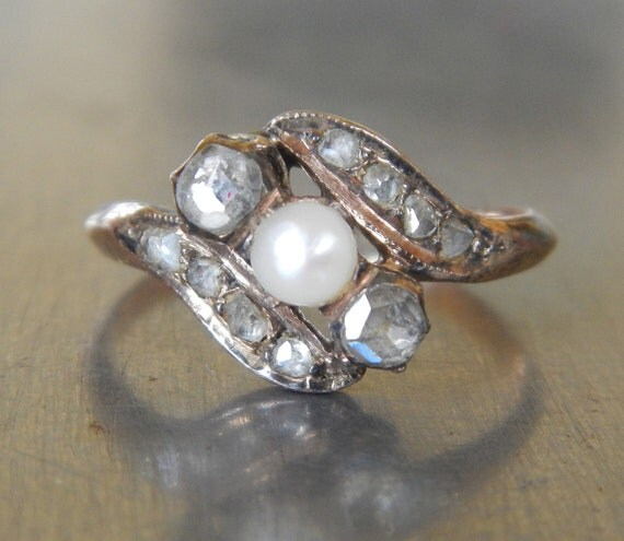 Antique Victorian Diamond and Pearl Ring - FREE SHIPPING