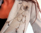 Spider Chain Brooch - Antique Bronze Spider Weaving Her Web Chain Brooch w/ Bowknot Charms and Black Beads