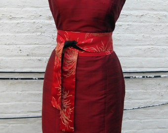 Ruby Red Mandarin Collar Fitted Shantung Cheonsam Dress, Size Small (6)