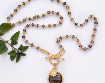 Lariat Necklace - Smokey Quartz Necklace - Wire wrapped Smokey Quartz and Sunflower Charm Necklace -