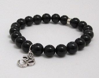 Spiritual Gift under 30 for Wonen, Men Inspirational Jewelry, Om Silver Charm Black Obsidian Yoga Protection Chakra Stones Mala Bracelet