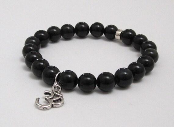 Om Silver Charm, Rainbow Obsidian Chakra Bracelet, Men's Mala Beads, Boho, Zen Buddha Beads, Women Yoga Bracelet, Chakra Jewelry Unique Gift