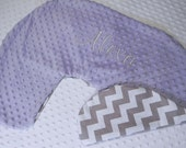 Boppy Pillow Cover- Personalized Boppy Cover- Lavender Minky and Grey and White Chevron Print Boppy Cover