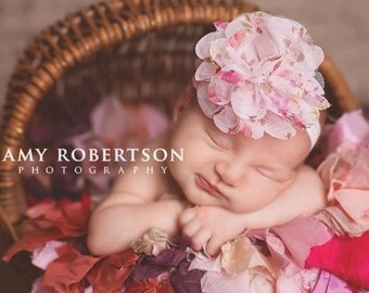 Baby Headband-  Ivory Floral Print Flower on Soft Ivory Elastic Headband