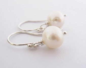 Simple Classic White Freshwater Pearl Earrings on Argentium Sterling Silver French Hoops, June Birthstone, Wedding Jewelry