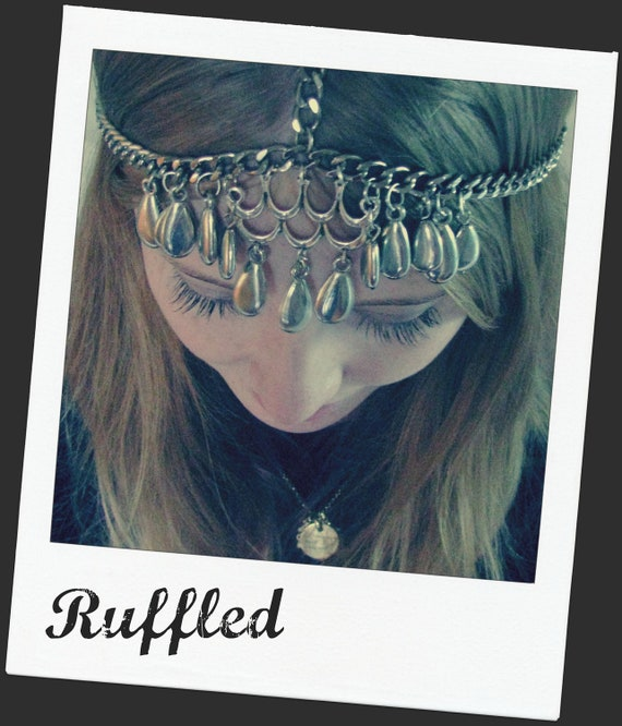 "Silver Chain Headdress, Headband, Headpiece - ""Ruffled"""