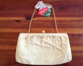 Pastel Yellow Leather Clutch Purse New with Tags ON SALE