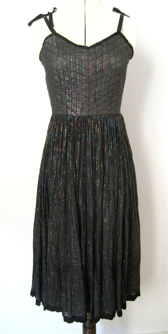 Boho Indian Gauze Dress- Metallic Thread on Black Cotton - Festival or Night Out