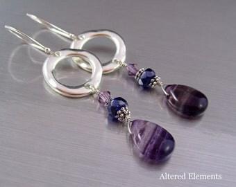 Fluorite Dangle Earrings - Silver Hoops and Purple Fluorite Drops - Purple and Silver Jewelry - Fluorite Hoop Earrings -Alteredelementsjewel