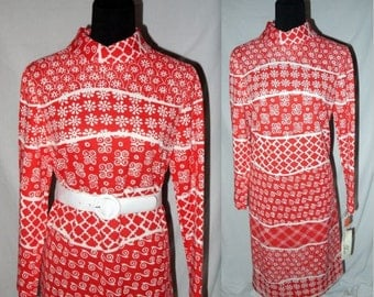 Spice of life ... vintage 60s mod day dress / 1960s midi shift / red abstract geometric / NOS deadstock / mad men indie boho .. M L